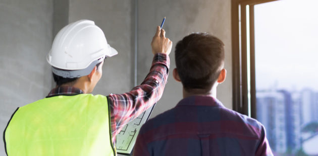 Contractor showing the worksite to the client