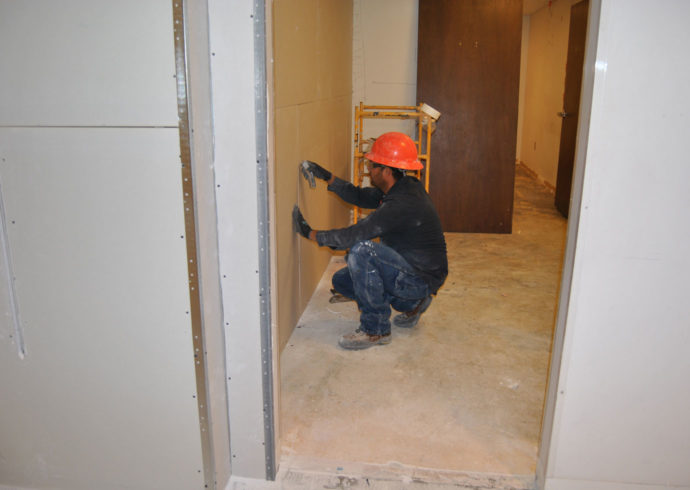 Cutting out a box in the drywall